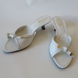 Tod's Shoes - TOD'S WHITE LEATHER KITTEN HEEL SLIDES SANDALS 9.5